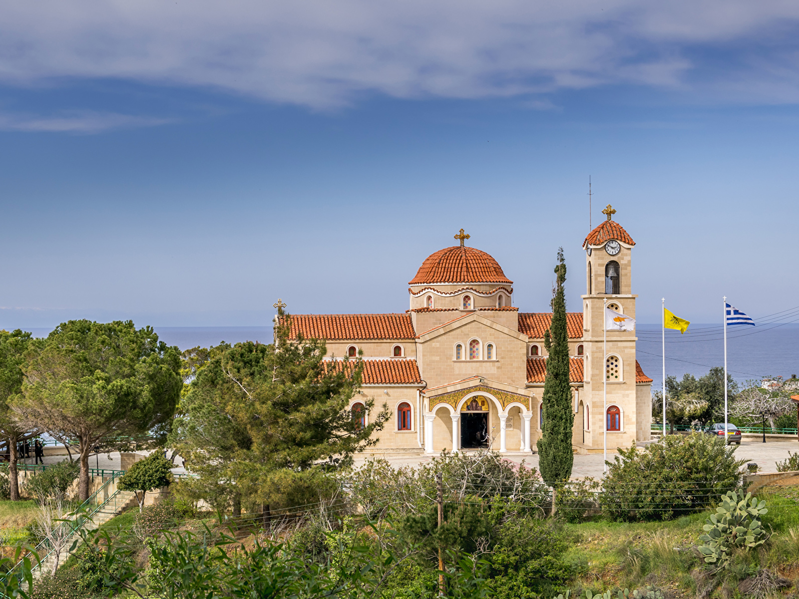 Picture Agios Raphael Church Pachyammos Cyprus Temples Trees Cities 1600x1200 temple