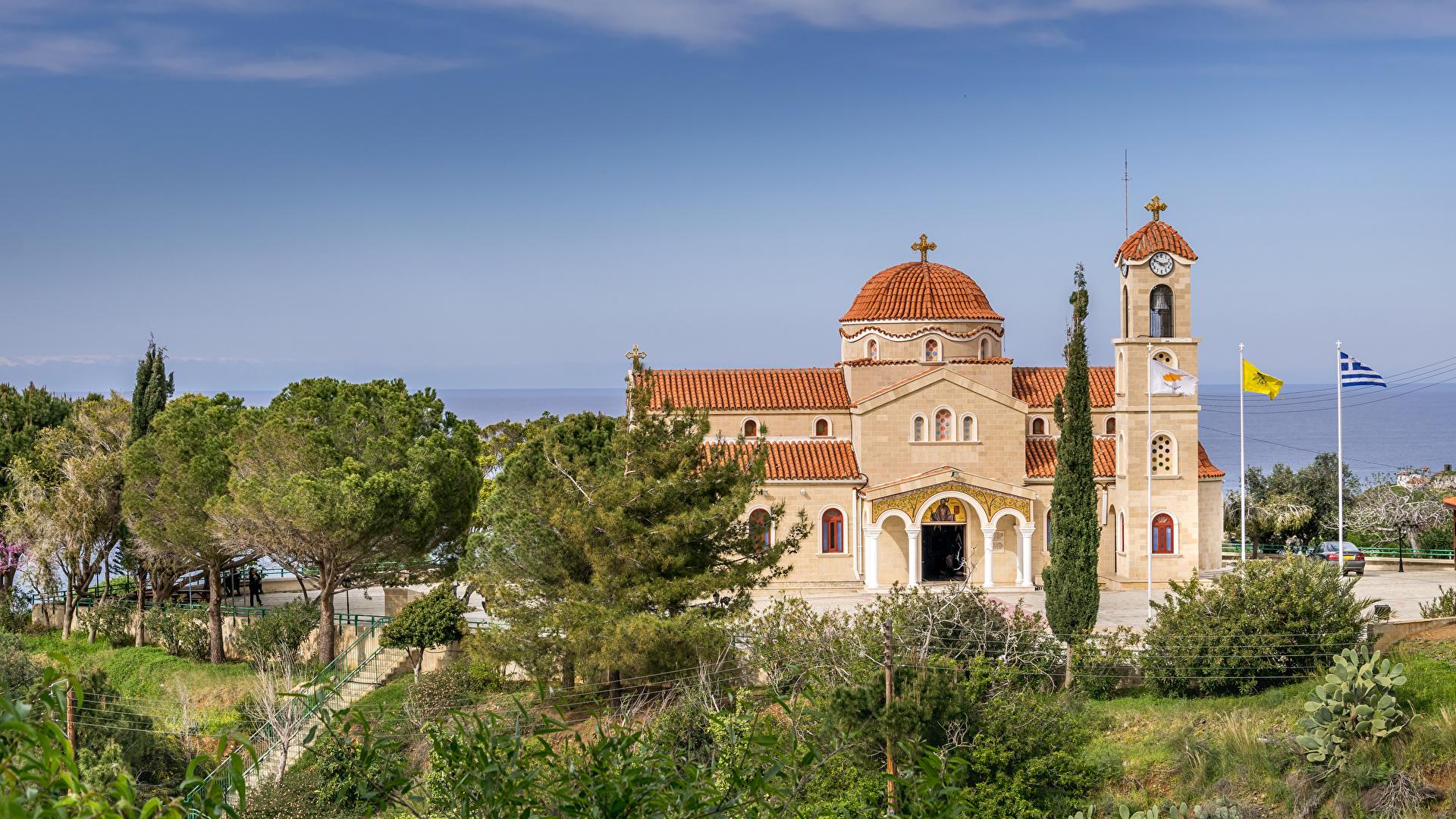 Immagini La chiesa Cipro Agios Raphael Church Pachyammos Cyprus Tempio Alberi Città 1920x1080
