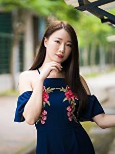 Fotos Asiaten Bokeh Posiert Hand Kleid Braunhaarige Haar Blick Mädchens