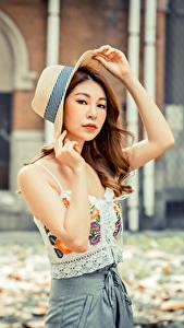 Bilder Asiatisches Der Hut Braunhaarige Hand Blick Bokeh junge frau
