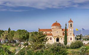 Bilder Republik Zypern Tempel Kirche Bäume Agios Raphael Church Pachyammos Cyprus Städte