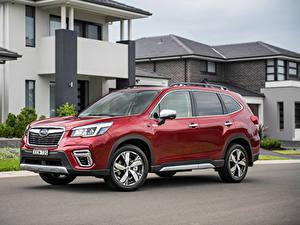 Hintergrundbilder Subaru Bordeauxrot Softroader 2020 Forester Hybrid S auto