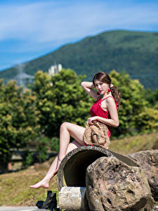 Pictures Asian Stone Sitting Legs Hat Frock Beautiful Girls