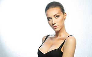 Hintergrundbilder Model Schöner Schminke Blick Dekolleté