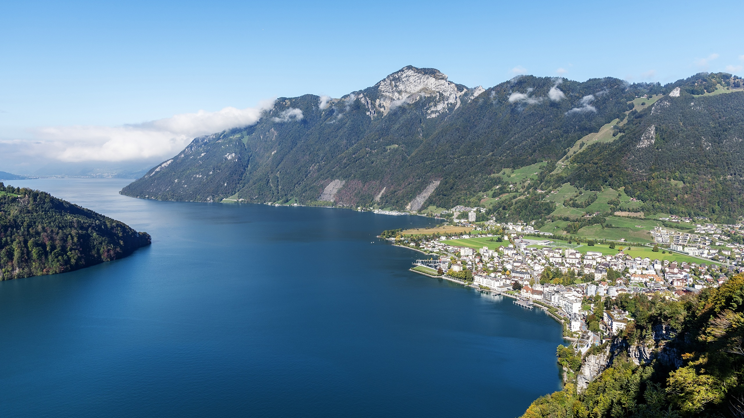 Picture Switzerland Ingenbohl, Canton of Schwyz, Lake Lucerne Nature mountain From above 2560x1440 Mountains
