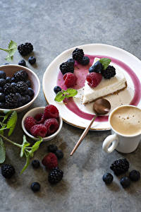 Wallpapers Coffee Cappuccino Cake Raspberry Blackberry Blueberries Cup