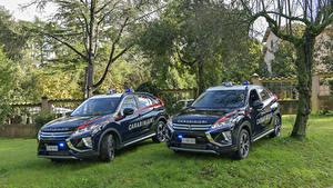 Hintergrundbilder Mitsubishi Fahrzeugtuning Zwei Blau Metallisch Polizei 2018 Eclipse Cross Carabinieri Autos
