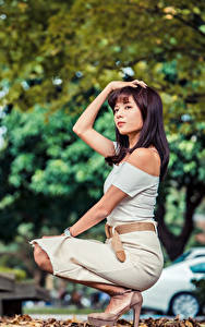 Hintergrundbilder Asiatische Posiert Hand Blick Bokeh junge Frauen