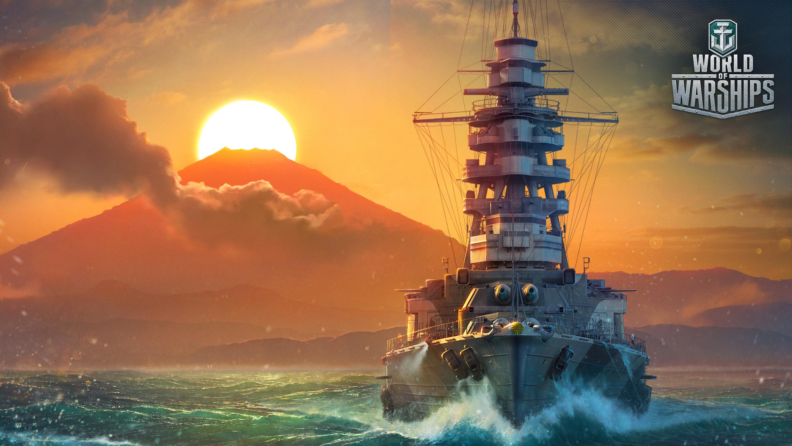 Fotos von World Of Warship Japanisch Mutsu Sonne Spiele Schiffe Sonnenaufgänge und Sonnenuntergänge Heer 2560x1440 japanische japanisches japanischer Militär
