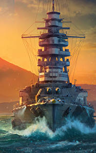 壁纸、、World Of Warship、船、朝焼けと日没、日本の、太陽、Mutsu、ゲーム、陸軍