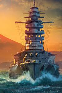 Hintergrundbilder World Of Warship Schiffe Sonnenaufgänge und Sonnenuntergänge Japanisch Sonne Mutsu Spiele Heer