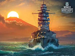 Hintergrundbilder World Of Warship Schiffe Sonnenaufgänge und Sonnenuntergänge Japanische Sonne Mutsu Spiele Heer