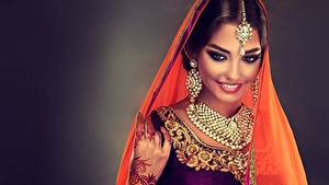 Photo Indian Jewelry Necklace Beautiful Smile Makeup Earrings Sofia Zhuravets female
