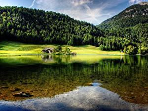 Fotos Gebirge Wälder Österreich See Landschaftsfotografie Hintersteinersee lake, Tyrol Natur