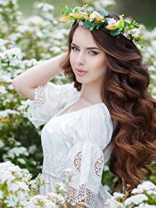 Bilder Blühende Bäume Braunhaarige Hübsch Haar Starren Frisuren junge frau