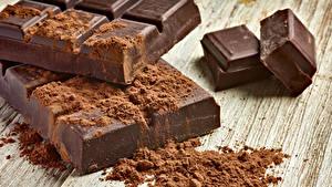 Fotos Süßware Schokolade Schokoladentafel Bretter Kakaopulver