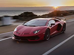 Hintergrundbilder Lamborghini Bordeauxrot Bewegung 2018 Aventador SVJ Worldwide