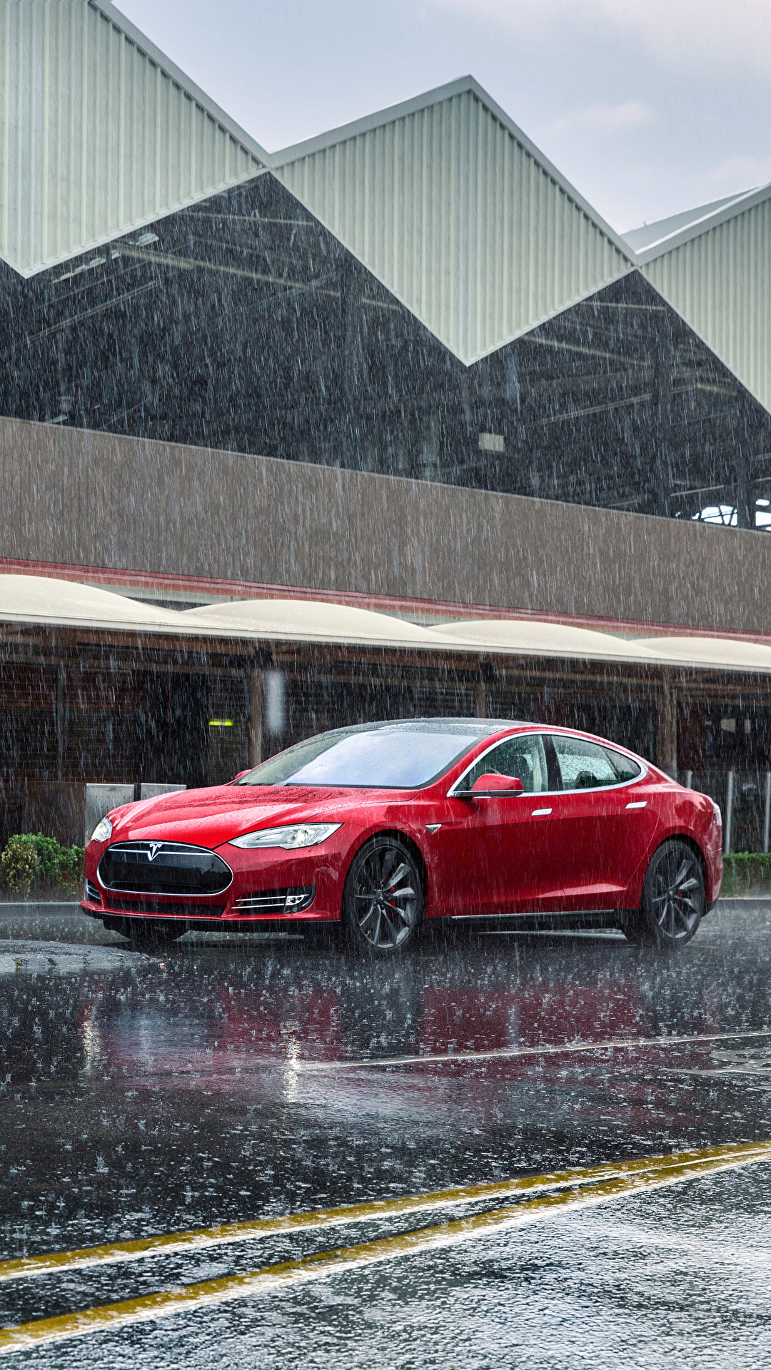 Wallpaper Tesla Motors 2012 14 Model S P85 Red Rain 1080x1920
