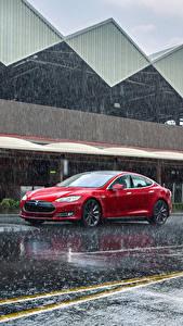 Bilder Tesla Motors Regen Rot 2012-14 Model S P85 Autos