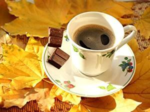 Fotos Kaffee Schokolade Tasse Untertasse Blatt Lebensmittel