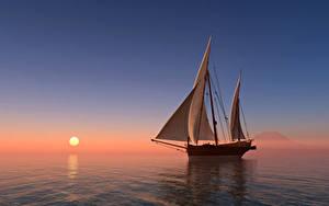 Fotos Sonnenaufgänge und Sonnenuntergänge Meer Segeln Schiff Sonne 3D-Grafik