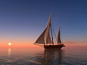 Fotos Sonnenaufgänge und Sonnenuntergänge Meer Segeln Schiffe Sonne 3D-Grafik