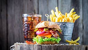 Bilder Fast food Burger Coca-Cola Fritten