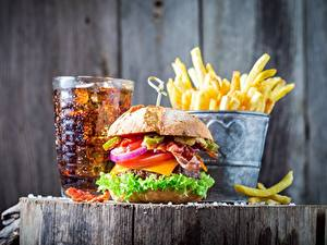 Bilder Fast food Burger Coca-Cola Fritten Lebensmittel