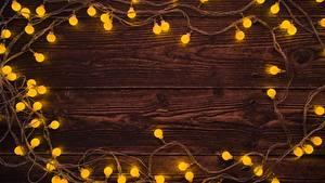 Papéis de parede Ano-Novo Luzes de Natal Tábuas de madeira Cartão do molde