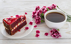 Image Coffee Carnations Torte Boards Cup Petals Piece