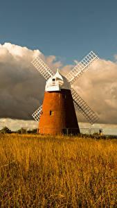 Hintergrundbilder England Herbst Felder Mühle Wolke Gras Halnaker Windmill