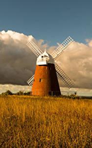 Hintergrundbilder England Herbst Felder Mühle Wolke Gras Halnaker Windmill Natur