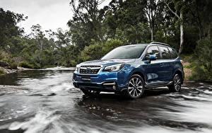 Bilder Subaru Blau Hand Forester automobil