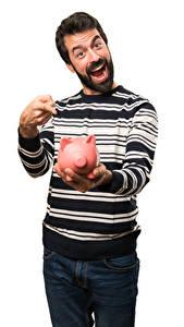 Fotos Mann Finger Weißer hintergrund Fröhlicher Sparschwein