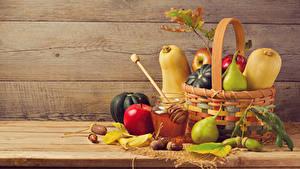 Wallpaper Pumpkin Apples Pears Honey Wood planks Wicker basket Jar Food