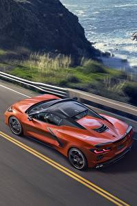 Hintergrundbilder Chevrolet Orange Von oben convertible Stingray Corvette C8 automobil