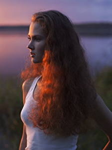Desktop wallpapers Sunrise and sunset Redhead girl Staring Sleeveless shirt Bokeh Hair Anastasiya Khotenovskaya Girls