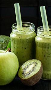 Fotos Getränke Obst Kiwifrucht Äpfel Smoothie Weckglas das Essen