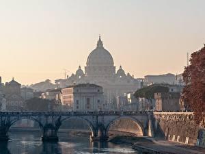 Bilder Rom Italien Kirchengebäude Brücken Morgen Kuppel Städte