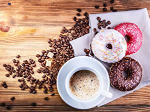 Bilder Sternanis Donut Kaffee Schokolade Bretter Getreide Tasse