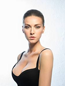 Fotos Model Schöne Schminke Starren Dekolletee