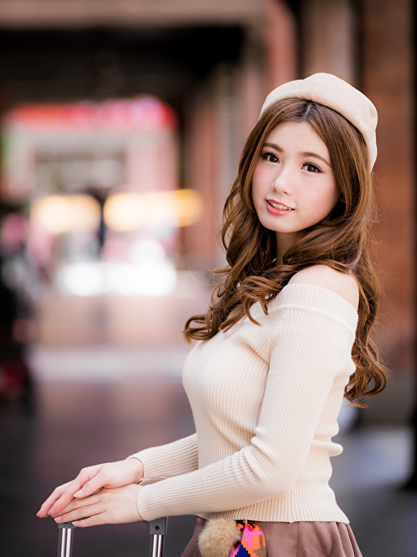 Fotos Braune Haare Bokeh Schön Barett junge frau Asiatische Blick 600x800 für Handy Braunhaarige unscharfer Hintergrund hübsch schöne hübsche schöner schönes hübscher Mädchens junge Frauen Asiaten asiatisches Starren