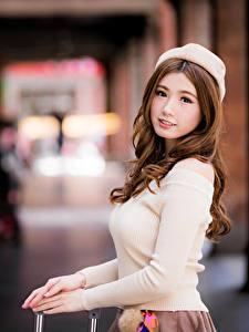 Hintergrundbilder Asiatische Braune Haare Barett Blick Bokeh Schönes Mädchens
