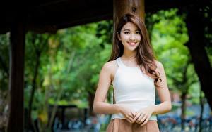 Hintergrundbilder Asiatische Bokeh Braune Haare Starren Lächeln Mädchens