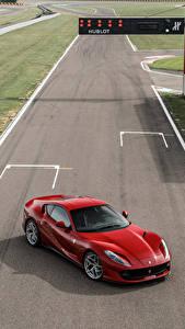 Hintergrundbilder Ferrari Rot Von oben 2017 812 Superfast Autos