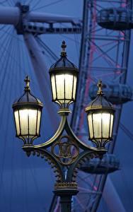 Fotos Abend England Straßenlaterne Riesenrad London London Eye