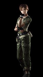 Bilder Resident Evil Schwarzer Hintergrund Rebecca Chambers Spiele 3D-Grafik Mädchens