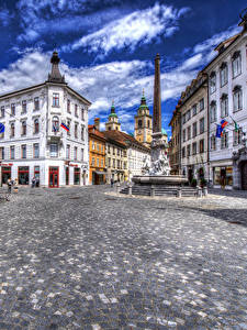 Fotos Slowenien Gebäude Ljubljana Stadtstraße Städte