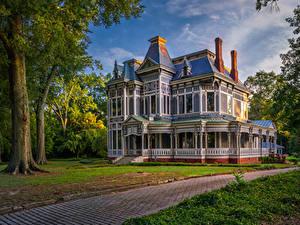 Bilder USA Gebäude Herrenhaus Design Gehweg Newnan Georgia Städte