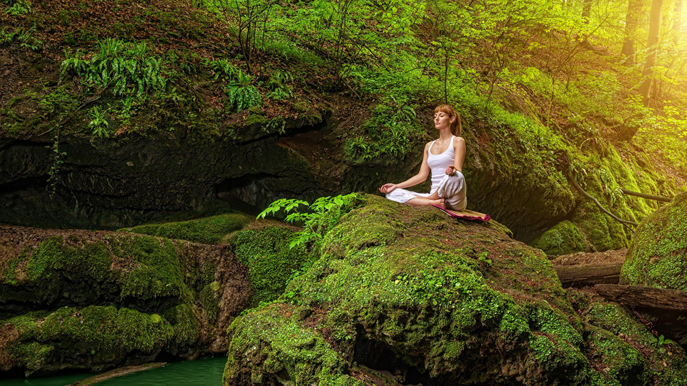 Photo Brown Haired Yoga Rock Nature Young Woman Moss Stones 1366x768